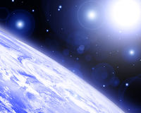 Earth horizon. In outer space Royalty Free Stock Images