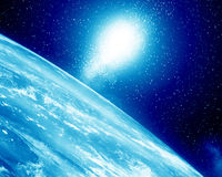 Earth horizon. With bright sparkling stars above Royalty Free Stock Photo
