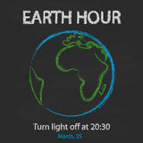 Earth hour background with globe on blackboard in cartoon style. Vector illustration for you design, card, banner Royalty Free Stock Photo