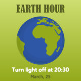 Earth hour background with globe in cartoon style. Vector illustration for you design, card, banner, poster, calendar or placard  Stock Photography