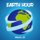 Earth hour background with ribbon around globe in cartoon style. Vector illustration for you design, card, banner Stock Images