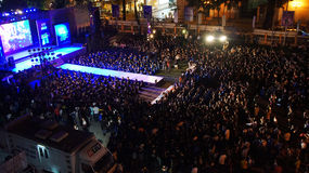 Earth hour campaign, Ho Chi Minh, Vietnam. HO CHI MINH CITY, VIET NAM- MAR 29: Outdoor stage at night to respond earth hour campaign, worldwide event, crowded royalty free stock images