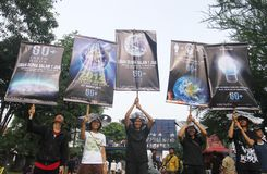 Earth Hour Campaign in Indonesia Royalty Free Stock Images