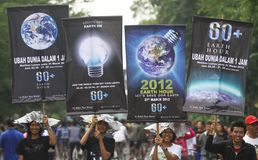 Earth Hour Campaign in Indonesia Stock Photos