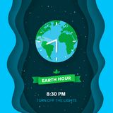 Earth hour. Deep space background with stars and flat Earth planet. Abstract waves background with 3d effect. Green ribbon with leaves. Clock concept. Paper Royalty Free Stock Photography