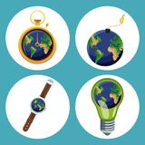 Earth hour design. Icon  illustration graphic Royalty Free Stock Photos