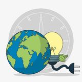 Earth Hour design. Light bulb planet clock plug and leaves of earth hour world time and global theme Isolated design Vector illustration Royalty Free Stock Images