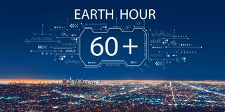 Earth hour with downtown Los Angeles. At night stock illustration