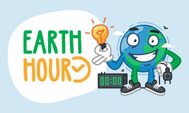 Earth Hour Earth Character Holding Light Bulb Stock Images