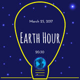 Earth Hour environmental movement illustration Royalty Free Stock Images