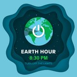 Earth hour. Flat Earth planet in Space. Starry sky background with 3d effect. Earth globe with on/off light switch icon.