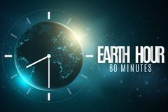 Earth Hour. Futuristic planet Earth. 60 minutes without electricity. 3D paper letters. Sunrise. Global holiday. Clock go. Abstract. World map. Starry sky royalty free illustration