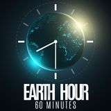 Earth Hour. Futuristic planet Earth. 60 minutes without electricity. 3D paper letters. Sunrise. Global holiday. Clock go. Abstract. World map. Paper dial royalty free illustration