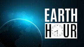 Earth Hour. Futuristic planet earth in space. 60 minutes without electricity. Sunrise with a blue glow. Global holiday. Abstract w. Orld map. Space and stars vector illustration