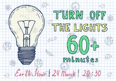 Earth hour hand drawn poster. With lamp and inscription turn off the lights 60 minutes Stock Photo