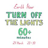 Earth hour hand drawn poster stock illustration