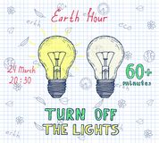 Earth hour hand drawn poster. With lamp and inscription turn off the lights 60 minutes Royalty Free Stock Photography