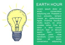 Earth hour hand drawn poster. With lamp and place for text Stock Illustration