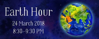 Earth hour hand drawn watercolor horizontal illustration - globe in space view Asia and Europe. With title, date and time Royalty Free Stock Images