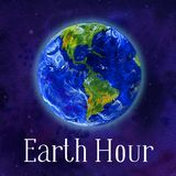 Earth hour hand drawn watercolor illustration - globe in space royalty free illustration