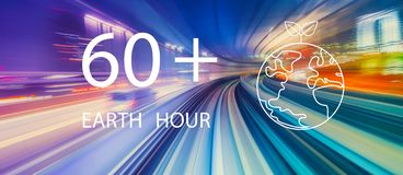Earth hour with high speed motion blur royalty free stock photo