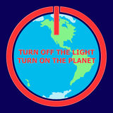 Earth hour illustration with on icon and globe Stock Photo