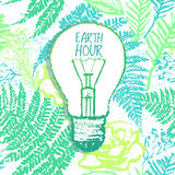 Earth Hour ink hand drawn illustration with light bulb on green. Green design to save the earth and other creative use Royalty Free Stock Images