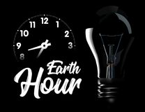 The Earth Hour is an international action calling for the switching off of light for one hour for environmental. Assistance to planet Earth. Vector illustration Stock Photos