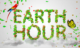 Earth Hour leaves particles 3D. Digital art Stock Image