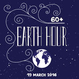 Earth hour lettering Royalty Free Stock Photo