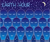 Earth Hour. Many lamps on the background of the starry sky. 60 minutes of off light, action, worldwide. Ecology and environmen Stock Images