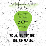 Earth hour 25 March 2017 Black Lettering Typography with burst on a Old Textured Background. Vector illustration for Stock Photos