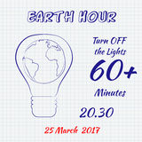 Earth hour 25 March 2017 hand drawn doodle sketch on a sheet of cell paper. Vector illustration for card, banner, poster.  Royalty Free Stock Photo
