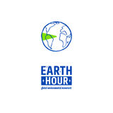 Earth Hour Movement. Earth Hour is a Global Environmental Movement. Vector icon with text, isolated on white. Concept of energy saving and changing climate Stock Images