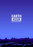 Earth Hour Movement. Illustration. Vertical background with dark city view. Vector template for banner, card or poster. The aim of the company is to prevent Royalty Free Stock Photography