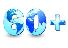 Earth Hour 60 plus. Card with number 60 and blue Earth globe inside symbolizing 60 minutes in Earth Hour on white background. Vector illustration Stock Photo