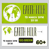 Earth Hour set of banners Royalty Free Stock Photos