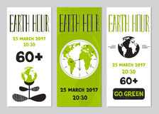 Earth Hour set of banners Royalty Free Stock Photo