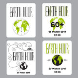 Earth Hour set of cards Royalty Free Stock Image