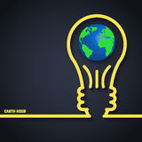 Earth Hour. Vector Illustration of Earth Hour for Design, Website, Background, Banner. Eco Energy Save Concept Element Template with Map and Lamp in Outline vector illustration