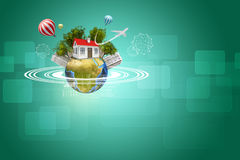 Earth with house, buildings, air balloons, trees Stock Photos