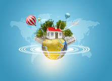 Earth with house, buildings, air balloons, trees Royalty Free Stock Photos
