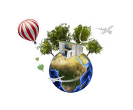 Earth with house. Isolated on white background Royalty Free Stock Photos