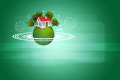 Earth with house, trees and wire-frame spheres Stock Image