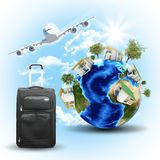 Earth with houses, airplane and voyage bag Royalty Free Stock Photos