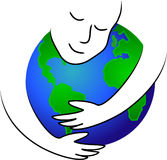 Earth Hug/eps. Illustration of a person hugging the earth. symbolic for taking care of our planet, or possibly God watching over us