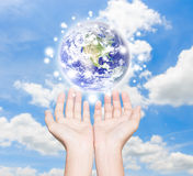 Earth in human hand element finished by nasa Royalty Free Stock Images