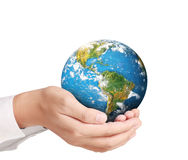 Earth in human hand Royalty Free Stock Photography