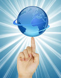 Earth in human hands. Pure white background Stock Photo
