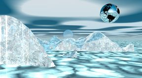 Earth upon icebergs Stock Image